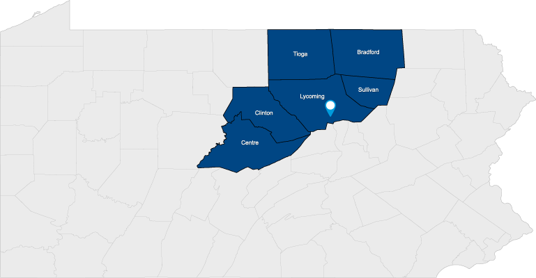 Picture of Pennsylvania with the counties outlined in blue that we serve. The counties include Lycoming, Centre, Clinton, Tioga, Bradford and Sullivan